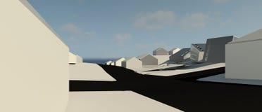 Projekt för illustration 3D av byggnad Arkivbilder