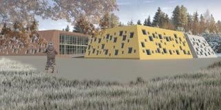 Projekt för illustration 3D av grundskola för barn mellan 5 och 11 år Arkivfoton