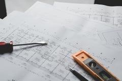Projekt för skissning för papper för teknikdiagramritning royaltyfri foto