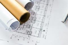 Projekt för skissning för papper för teknikdiagramritning royaltyfri fotografi