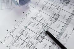 Projekt för skissning för papper för teknikdiagramritning arkivfoton