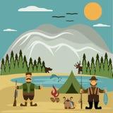 projekt ilustracja z rybakiem i myśliwym wektor ilustracji