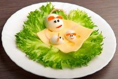 Projekt jedzenie dla dzieci. jajka w formie myszy Zdjęcia Stock