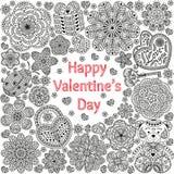 Projekt karta dla walentynka dnia Wzór z kwiatami, sercami, niedźwiedziem, prezentem i kluczem, royalty ilustracja