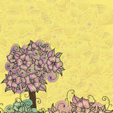 Projekt karta z doodle kwiatami ilustracji