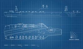 Projekt lotniskowiec Militarny statek Wierzchołka, frontowego i bocznego widok, Pancernika model Okręt wojenny w konturu stylu ilustracji