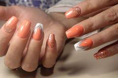 Projekt manicure z obrazkiem Zdjęcie Stock