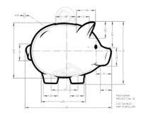 Projekt - ołówkowy plan śliczny prosiątko bank Pracujący nakreślenie pieniądze zbiornik w świni formie z wymiarami obrazy stock