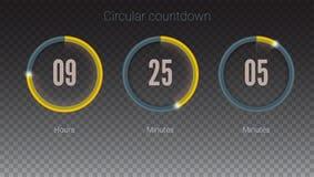 Projekt odliczanie zegar dla przychodzić, wkrótce w budowie akci lub Część interfejs użytkownika, kurenda odpierająca Ui ilustracji