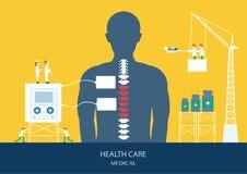 Projekt opieki zdrowotnej pojęcie, kręgosłup, backache royalty ilustracja