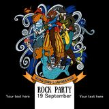Projekt plakat dla rockowego przyjęcia dla wakacyjnej rozmowy jak pirata dzień 2 Obrazy Stock
