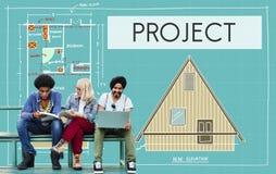 Projekt-Plan-Strategie-Schätzungs-Zusammenarbeit Job Concept lizenzfreie stockfotografie