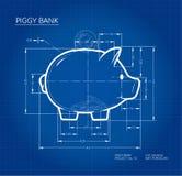 Projekt - projekta prosiątko bank plan Pracujący nakreślenie pieniądze zbiornik w ślicznej świni formie z wymiarami zdjęcia stock