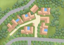 Projekt rozkładał plan prezentaci mapę dla grafika krajobrazu royalty ilustracja