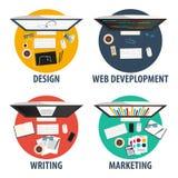Projekt, sieć rozwój, writing i marketing, Freelance zawodu set Obraz Stock