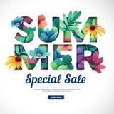 Projekt specjalnej sprzedaży druk dla lato sezonu Logo z kwiatu, liścia, ziele i gałąź dekoracją, Teksta lata cięcia papier ilustracji