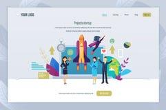 Projekt startar upp Innovativt genombrott som ska överträffas, prestation av mål royaltyfri illustrationer
