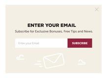 Projekt strony internetowej forma dla emaila prenumeruje Obrazy Stock