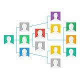 Projekt Team Organization Chart Vector kollegor som fungerar tillsammans Den hierarkiska diagramillustrationen vektor illustrationer