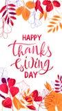 Projekt ulotki dziękczynienia Szczęśliwy literowanie z liśćmi fotografia royalty free
