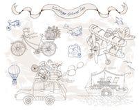 Projekt ustawiający z retro sposobami transport Fotografia Royalty Free