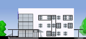 Projekt von moderne öffentliche Gebäude Lizenzfreies Stockfoto