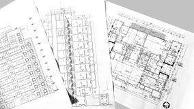 Projekt?w rysunki mieszkaniowy dom - plan, sekcja, fasada obrazy stock
