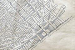 Projekt z abstrakcjonistyczną perspektywą na starym papierze ilustracji