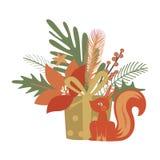 Projekt z prezentem i wiewiórką Obrazy Royalty Free
