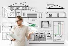 Projekta architekta projekta budowlanego nakreślenia pojęcie Fotografia Stock