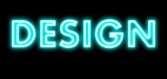 Projekta błękita światła łuny neonowy znak Obraz Royalty Free
