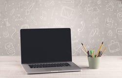 Projekta biurowy biurko z rysunku tłem Zdjęcia Stock