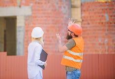 Projekta budowlanego zarządzanie Budować przemysłowego projekt Dyskutuje postępu projekt tła ceglani pojęcia budowy domu ikony pr zdjęcia stock