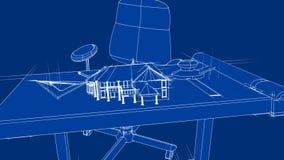 Projekta dom na brulionowość stole royalty ilustracja