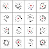 projekta elementów spirala Abstrakcjonistyczne czarne i czerwone ikony royalty ilustracja