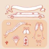 Projekta element dla ślubnego kartka z pozdrowieniami Rocznika styl, ręka rysująca Fotografia Royalty Free