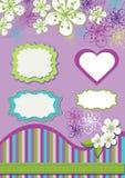 Projekta element dla szablonu. Wiosna kwiaty, linia  Ilustracji