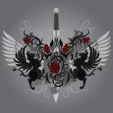 projekta fantazi gryphon róż kordzik ilustracji
