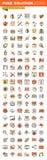 Projekta i rozwoju projekta sieci cienkie kreskowe płaskie ikony inkasowe Obraz Royalty Free