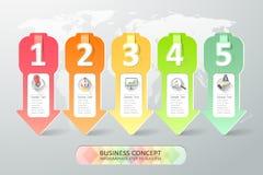 Projekta infographics 5 kroków również zwrócić corel ilustracji wektora Fotografia Royalty Free