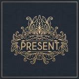 projekta kaligraficzny element Złoty gatunek Zdjęcia Royalty Free