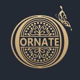 projekta kaligraficzny element Złoty logo Obrazy Stock