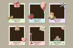 Projekta ślubu rama Dekoracyjne fotografii ramy dla valentine dnia Vecotr ilustracja Obraz Royalty Free