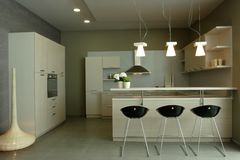 projekta luksus elegancki wewnętrzny kuchenny Zdjęcia Royalty Free