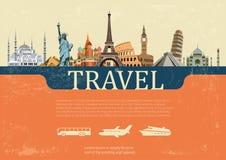 Projekta pojęcie podróż światowi punkty zwrotni, wektorowa ilustracja Ilustracji