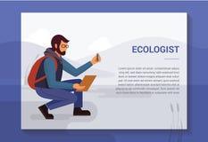 Projekta poj?cie z ilustracj? ekolog w naturze kt?ra bierze pr?bki od rezerwuaru ilustracja wektor