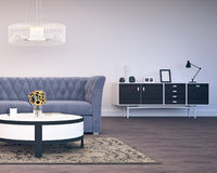 projekta pokój wewnętrzny żywy nowożytny Zdjęcie Royalty Free
