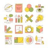 Projekta procesu ikony Kocowanie sztuki sieci kreatywnie produkty i usługa retuszu mieszkania blogging stacjonarni wektorowi obra ilustracji