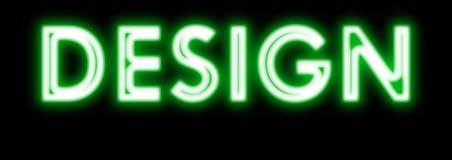 Projekta rozjarzony neonowy podpisuje wewnątrz zieleń Obraz Royalty Free