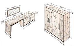 projekta rysunkowy wolnej ręki wnętrze nowożytny Obrazy Stock